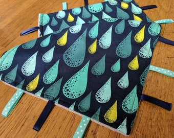 Baby Tag Blanket - Raindrops - Blue Green Grey - Gender Neutral - Ready to Ship