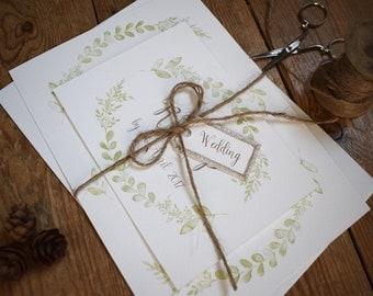 Rustic Wedding Invitation, Willow Day/Evening Wedding Invitation