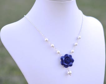 Navy Blue Rose Centered Necklace. Blue Bridesmaid Necklace
