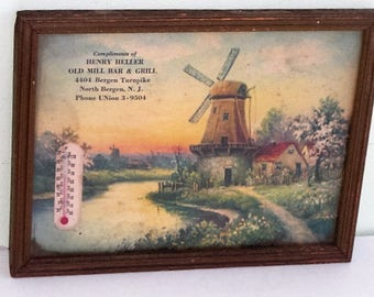Vintage Advertising Windmill Print and Thermometer Henry Heller Old Mill Bar & Grill North Bergen NJ