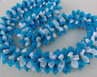 Turquoise frost tears ribbon lei