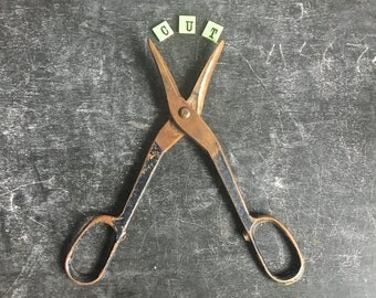 Vintage Distressed Industrial Tin Snips Scissors Wire Cutters Steel Distressed