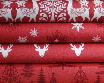 Scandinavian Christmas / Makower Scandi 3 Christmas / patchwork quilting fabric