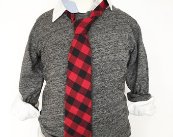 Red and Black Buffalo Check Necktie