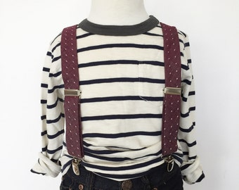 Burgundy Dot Chambray Suspenders
