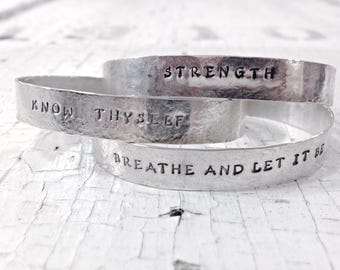 Personalized Sterling Silver Cuff Bracelet - Hammered and Stamped