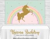 Rainbow Unicorn Backdrop - YOU PRINT Printable PDF Banner Pastel Buffet Table Birthday Gold Pink Mint Clouds 3x5 4x6 4x8 3x6 Custom Size