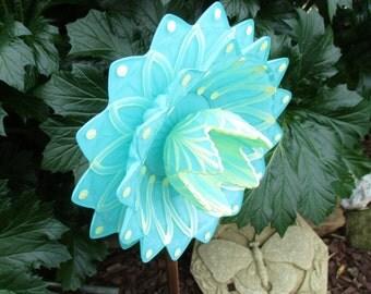 Elegant Glass Flower Garden Art - hand painted in Teal & Yellow - Garden Decor - Garden Sculpture - Garden Gift