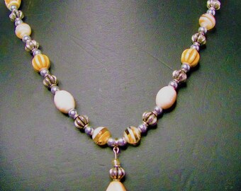 Beige Tribal Carved and Glass Beaded Necklace with Decorated Pendant - Item 322