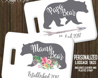 Mama Bear and Papa Bear Luggage Tags, Personalized Mr Mrs Luggage Tag, Couples Luggage Tag, His and Hers Baby Shower Mother's Day Father L17