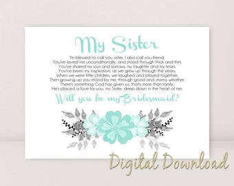 Sister Will You Be My BridesMaid Proposal BRIDESMAID Card Wedding Stationary Blue Turquoise PRINTABLE  Instant Download File Sister Poem