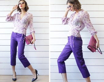 MaxMara vintage bright purple cotton skinny fit cropped cigarette straight capris crop ankle pants S