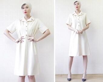 French vintage mod cream white wool short sleeve shirt shift midi dress M