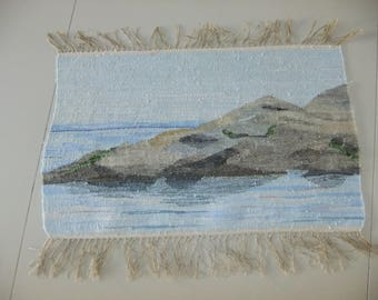 Vintage Swedish wonderful woven tapestry with sea motifs - Cliffs and sea