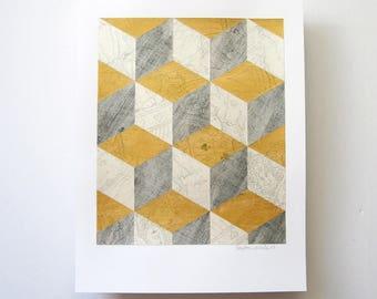 Alice Reconstructed No1 - Original Paper Collage - Gold Metallic Art - Book Paper Art - Grey Wall Decor - Modern Op Art - Paper Anniversary