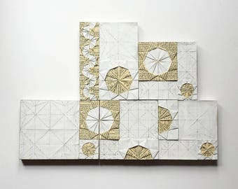 Set of 5 Mixed Media Paper Collage Art Tiles - Origami Wall Sculpture Book Paper Art - White Home Decor Modern Wall Decor - Contemporary Art