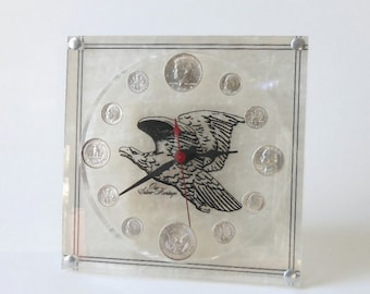 Vintage Our SILVER HERITAGE Coin CLOCK American Eagle Face 90% Silver Uncirculated Pre 1965 Coins Original Box Coin Clock Collector Ex Cond