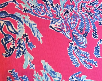 Capri Pink Samba Cotton Dobby  9 X 18 ,18 X 18 inches   ~Authentic Lilly Pulitzer fabrics~