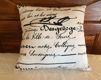 French Script Pillow, French Country Decor, Shabby Cottage Decor, Cottage Pillow, Black Pillow, Throw Pillow, Accent Pillow, Farmhouse Decor