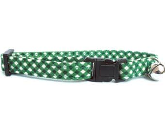 Cat or Small Dog Collar Forest Green Gingham