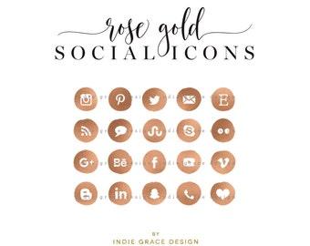 Rose Gold Social Icons - Copper Social Media Icons - Rose Gold Foil Icons - Social Media Icons - blog buttons