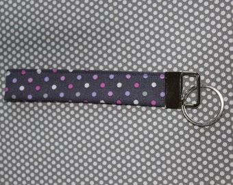 Fabric Key Fob Wristlet: Purple Dots