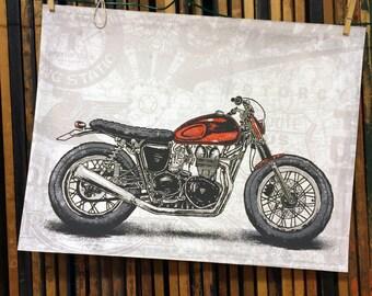 Screenprint Art Print - Custom Triumph Bonneville Motorcycle