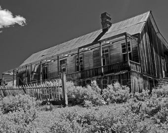 Black and White, Western Decor Ghost Town Bodie California Travel, Fine Art Photography matted & signed 7 x 10 Original Photograph