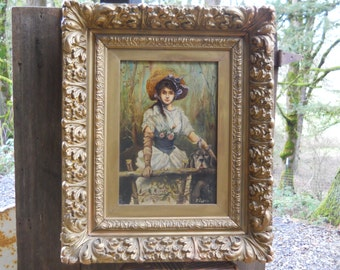Antique Edwardian Young Lady Girl Hound Dog Portrait Oil Canvas Painting Signed Victorian Farmhouse Vintage Shabby Chic Cottage Garden Decor