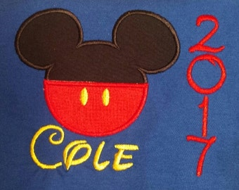 Mickey mouse personalized machine embroidered shirt...Disney