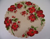 Vintage Round Scalloped Hanky with Red Dogwood Flowers