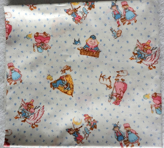 2 yards mother goose nursery rhyme abcs fabric cranston print for Nursery print fabric