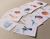 Alphabet cards, Alphabet art, Animal ABC Card, Nursery alphabet prints, Baby nursery art, Geometric art, Alphabet flash cards, Baby room