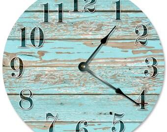 "OLD BLUE WORN Wood Clock - Large 10.5"" Wall Clock - 2112"