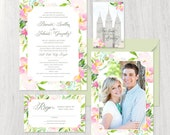 Watercolor flower Wedding Invitation with greenery and pink flowers, brush fonts, modern design, spring or summer wedding, full paper suite