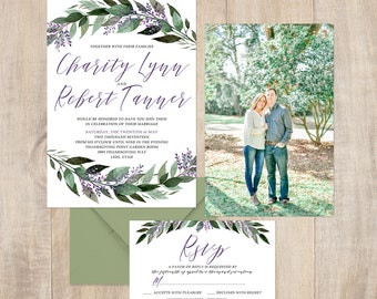 Floral Wedding Invitation with greenery and lavender flowers, brush fonts, modern design, spring or summer wedding, full paper suite