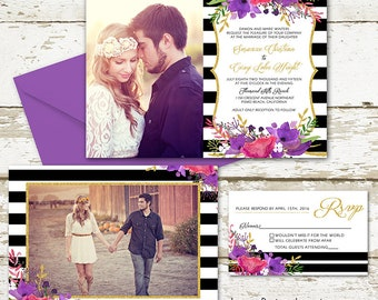 Stripes and floral Photo Wedding Invitation - Custom Wedding Invitation Set - watercolor flowers, gold and stripes