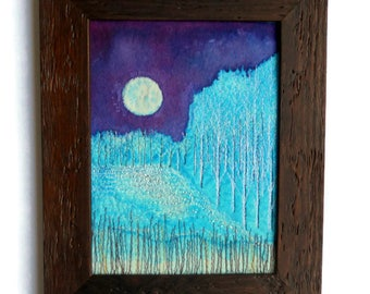 Fiber art Wall hanging Embroidered Fabric picture