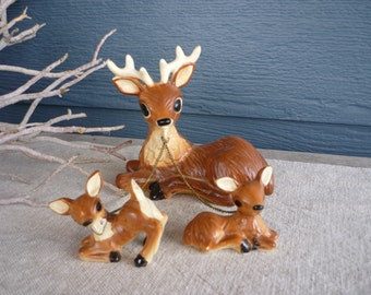 Vintage Collectable Ceramic Deer Figurines, Reindeer Family, Holiday Decor