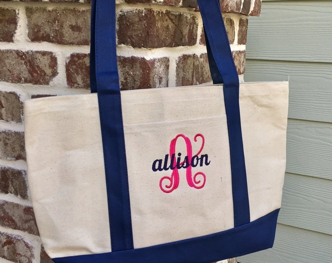 Monogram Canvas Tote Bag, Canvas Tote bag, Bridesmaid gift,  Monogrammed Gifts, Bridesmaid Gift Bag
