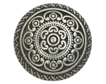 3 Cordes 1 inch  ( 25 mm ) Metal Buttons Silver Color