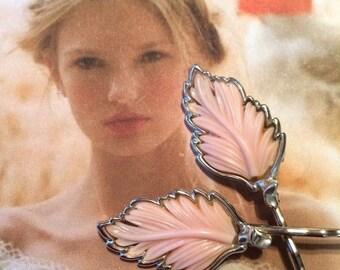 HOLIDAY SAVINGS Decorative Hair Pins Bridal Jewelry 1950's Lisner Vintage Pink Leaves Hair Pins Bobby Pins