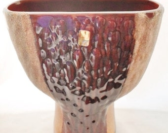 ON SALE Vintage 1950s Haeger Pottery Large Vase, Woodland Brown, Sandy Texture Drip Glaze, Mid Century Modern, Earthtone, USA, Home Decor, C