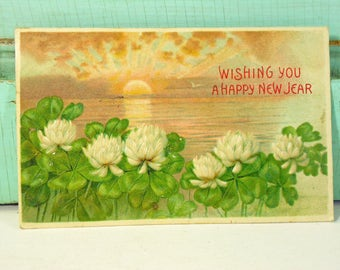 Antique Wishing You a Happy New Year Postcard with Water Lilies and Sunrise on Water 1908