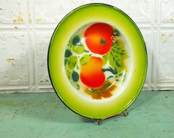 Shallow Small Enamel Bowl with Fruit Green and Orange
