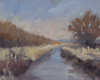 January Bosque Canal - Bosque del Apache - New Mexico - Original Oil Landscape Painting