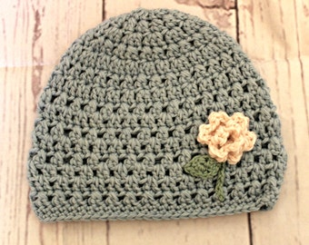 Child's winter hat -purple rose hat - flower beanie - Ready To Ship -one of a kind art hat