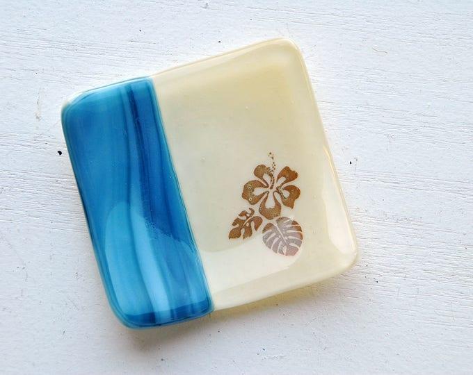 Blue Hibiscus Mini Fused Glass Dish