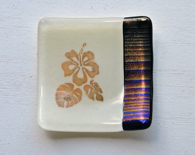Iridescent Hibiscus Mini Fused Glass Dish