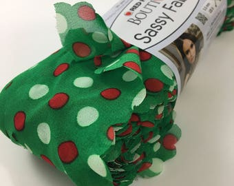 RED HEART BOUTIQUE Sassy Fabric Merry Dots Green Red White Christmas Holiday Novelty Yarn Ribbon Discontinued Specialty